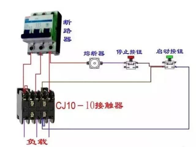 接触器控制回路接线图:   顺序启动,停止控制电路是在一个设备启动